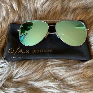 Quay x Desi High Key Blue/silver Sunglasses/
